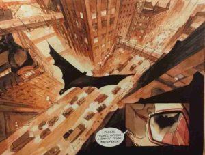 Batman Mroczny książę z bajki - panorama Gotham, Batman szybuje nad miastem