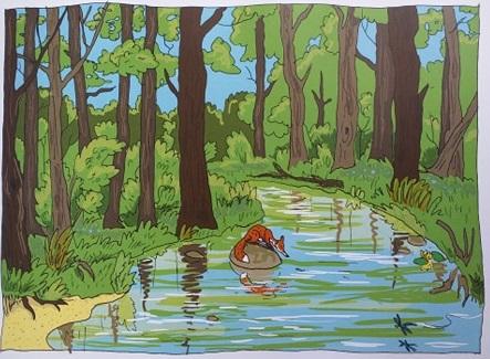 Lis pospolity kadr lis odpoczywa nad wodą